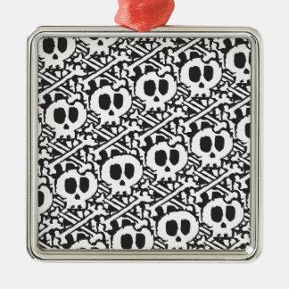 Pile of Skulls Silver-Colored Square Ornament