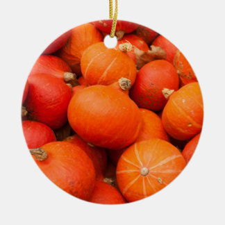 Pile of small pumpkins, Germany Round Ceramic Ornament