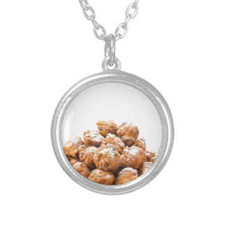 Pile of sugared oliebollen or fried fritters silver plated necklace