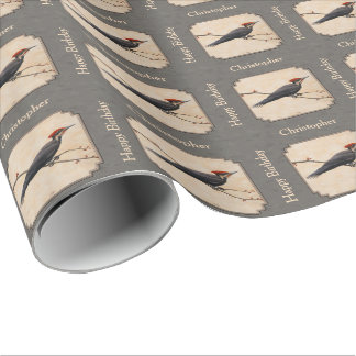 Pileated Woodpecker Gray Wrapping Paper