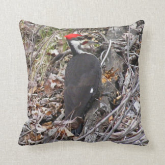 Pileated Woodpecker Pecking Throw Pillow