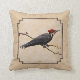 Pileated Woodpecker Tan Throw Pillow