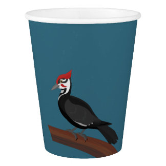 Pileated Woodpecker Vector Art Paper Cups
