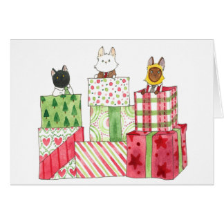 Piles of Christmas Gifts Card