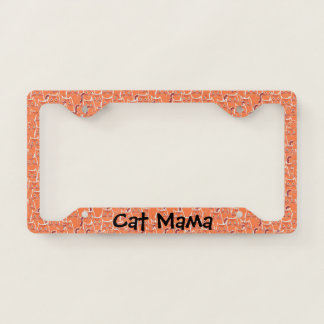 Piles of Cute Orange Tabby Cats Pattern Cat Mama License Plate Frame