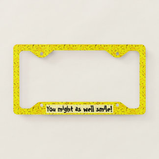 Piles of Cute Yellow Smiley Faces License Plate Frame
