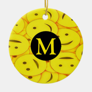 Piles of Yellow Cute Smiley Happy Faces Monogram Ceramic Ornament
