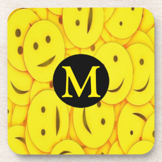 Piles of Yellow Cute Smiley Happy Faces Monogram Coaster