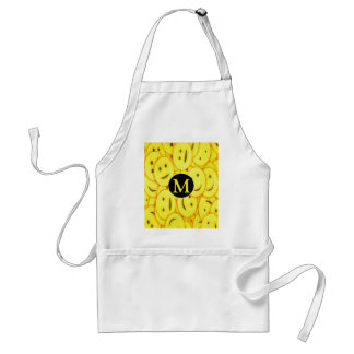 Piles of Yellow Cute Smiley Happy Faces Monogram Standard Apron