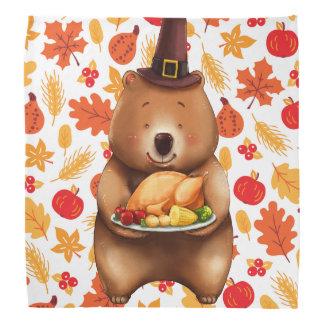 pilgram bear with festive background bandana