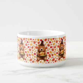 pilgram bear with festive background bowl