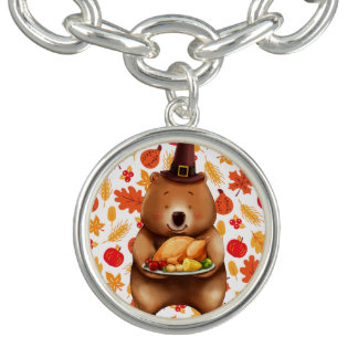pilgram bear with festive background charm bracelets