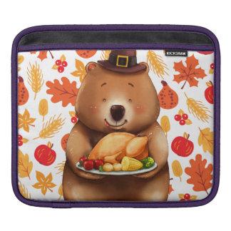 pilgram bear with festive background iPad sleeve