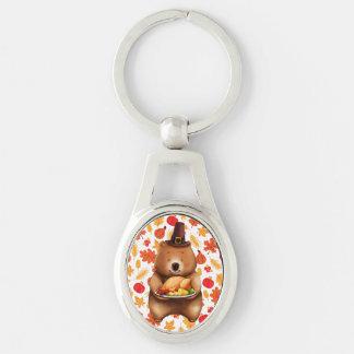 pilgram bear with festive background keychain