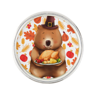 pilgram bear with festive background lapel pin