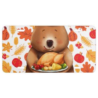 pilgram bear with festive background license plate