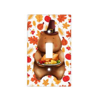 pilgram bear with festive background light switch cover