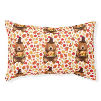 pilgram bear with festive background pet bed