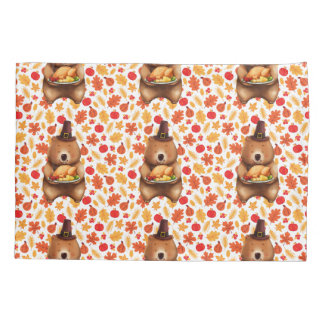 pilgram bear with festive background pillowcase
