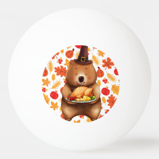 pilgram bear with festive background ping pong ball