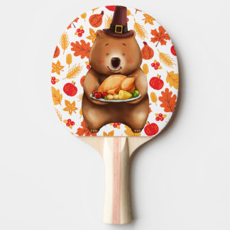 pilgram bear with festive background ping pong paddle