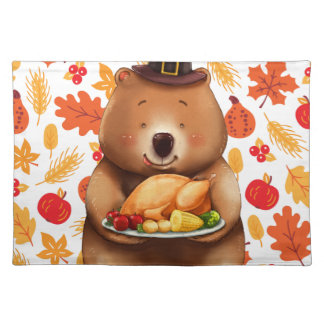 pilgram bear with festive background placemat
