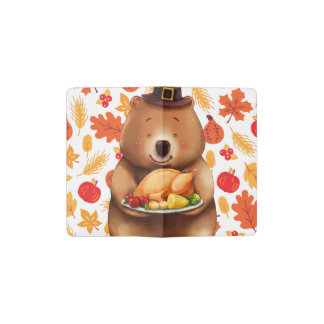 pilgram bear with festive background pocket moleskine notebook