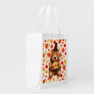pilgram bear with festive background reusable grocery bag