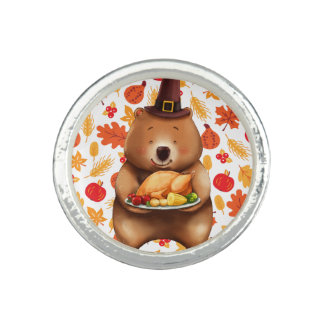 pilgram bear with festive background ring