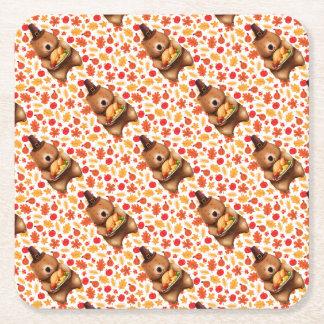 pilgram bear with festive background square paper coaster