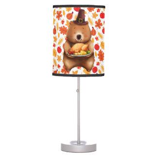 pilgram bear with festive background table lamp
