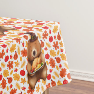 pilgram bear with festive background tablecloth