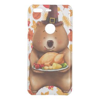 pilgram bear with festive background uncommon google pixel case