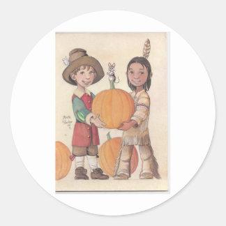 pilgrim boy and indian boy classic round sticker