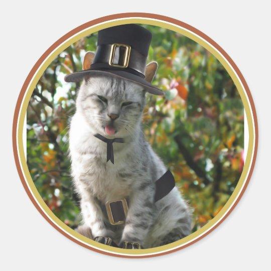 Pilgrim Cat Classic Round Sticker