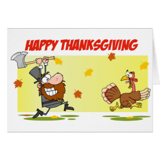 Pilgrim Chasing Turkey Card