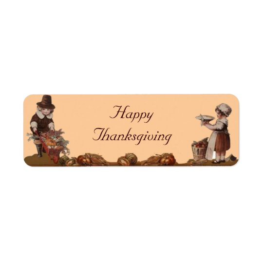 Pilgrim Children Happy Thanksgiving Return Address Label