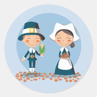 Pilgrim Couple Classic Round Sticker