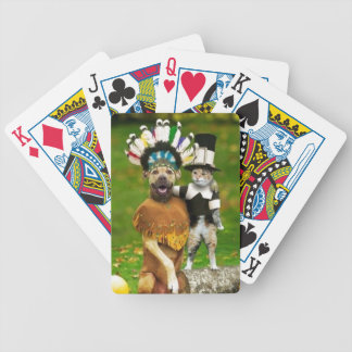 Pilgrim Dogs and Cats, Have a Happy Thanksgiving Deck Of Cards