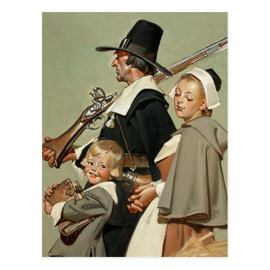 Pilgrim Family. Thanksgiving Postcards