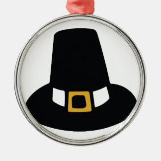 Pilgrim Hat Silver-Colored Round Ornament