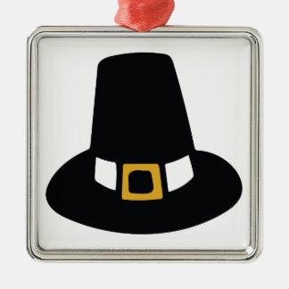 Pilgrim Hat Silver-Colored Square Ornament