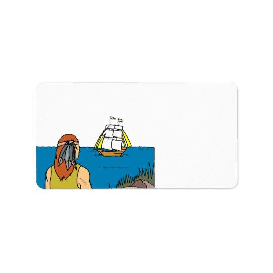 Pilgrim Mayflower Thanksgiving Address Labels