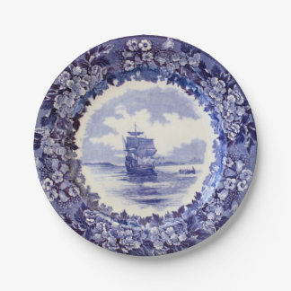 Pilgrim Paper Plates: Wedgwood Mayflower 7 inch. Paper Plate