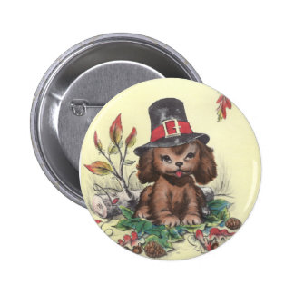 Pilgrim Puppy Thanksgiving Button