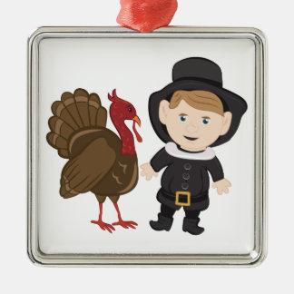 Pilgrim & Turkey Silver-Colored Square Ornament