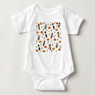 Pilgrims and Indians pattern - Thanksgiving Baby Bodysuit