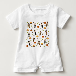 Pilgrims and Indians pattern - Thanksgiving Baby Romper