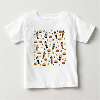 Pilgrims and Indians pattern - Thanksgiving Baby T-Shirt