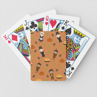 Pilgrims and Indians pattern - Thanksgiving Bicycle Playing Cards